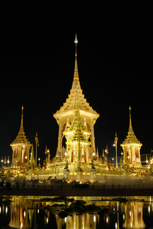 The royal crematorium of His Majesty late King Bhumibol Adulyadej built for the royal funeral at Sanam Luang, Bangkok, Thailand.