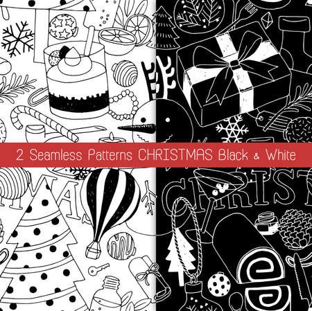 2 Seamless Patterns Christmas Black and White  イラスト・ベクター素材