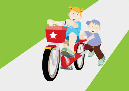 elder: Younger brother teaches elder sister to ride the bicycle