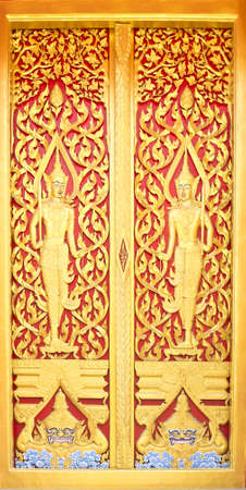 Traditional Thai Style on Temple Door photo