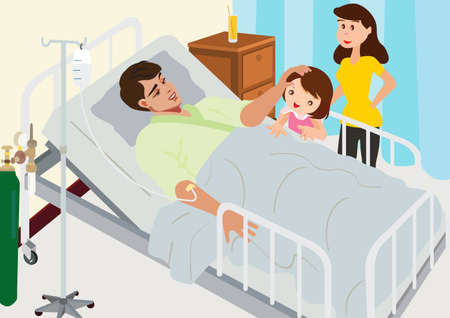 patient in hospital: Visiting Patient In Hospital Illustration