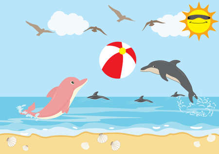 Summer Holiday with Dolphins Play Ball Beach Иллюстрация