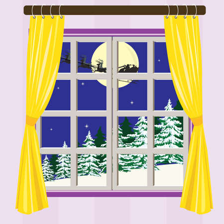 christmastide: Outside view in the winter night  Illustration