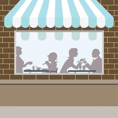 window shade: Frente de vista de la cafeter�a