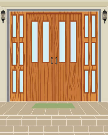 threshold: Exterior house wood door background