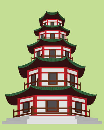 chinese buddha: Chinese Pagoda Architecture Illustration