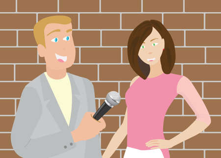 interrogate: News Reporter Man Illustration
