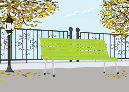 Public Park In The Fall Vector