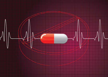 batida de cora��o: Heart Beat On Pill Background