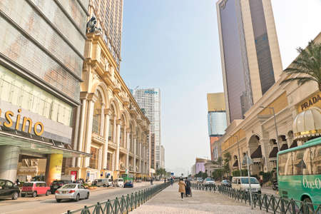 Buildings around avenida 24 De Junho (Avenue named for the date in which Portugal won the battle of Macau is June 24) In Macau, China Editorial