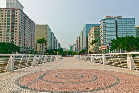 Buildings around dr. Carlos d'assumpcao park in Macau, China