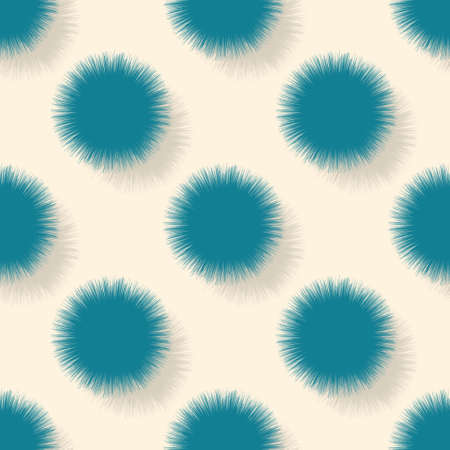 A pattern of fluffy hairy blue circles on a yellow background with a shadow. The template is suitable for posters, cards, fabrics or wrapping paper