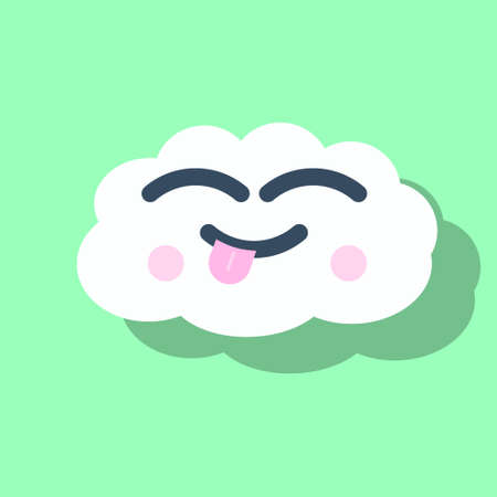 Cute greeting card with cheerful cloud, colorful vector illustration with closed eyes, two pink and round blush, isolated icon