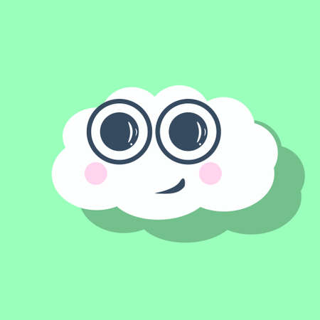 Cute postcard with cheerful cloud, colorful vector illustration of smiling face, two pink and round blushes, isolated icon