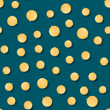 yellow christmas balls pattern. Seamless vector illustration for Christmas and New Year. Vettoriali
