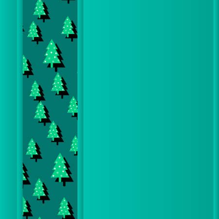 green New Year and Christmas background copy space with green Christmas trees. Modern advertising square web banner for social media mobile apps. Illusztráció