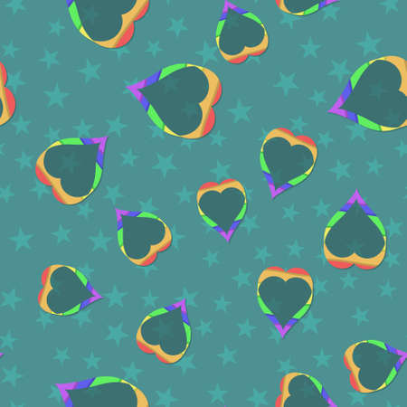 Vector pattern with many colorful rainbow emblems of hearts on dark background. Seamless pattern can be used for wallpaper, pattern fills, web page background,surface textures