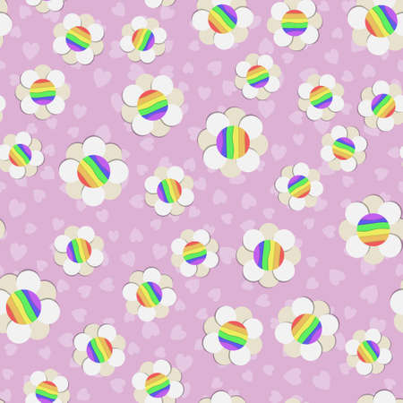 LGBT protective flowers pattern. White daisies with rainbow on pink background