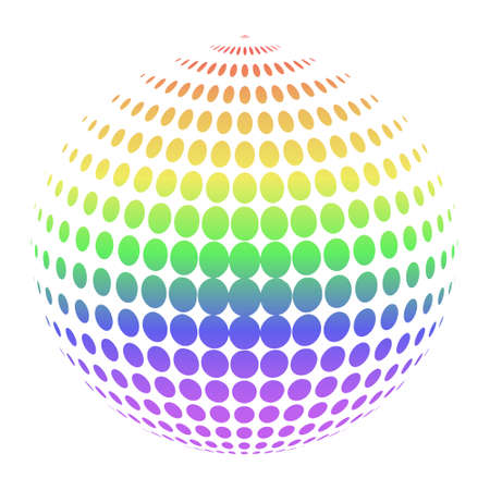 LGBT colored dots isolated on white background abstract sphere of round elements in various sizes and rainbow color tones, based on the LGBT colored stripes abstract sphere icon