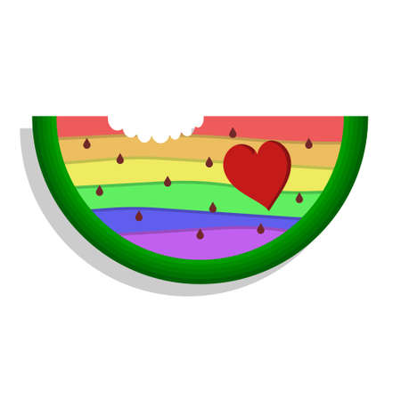 LGBT watermelon with heart isolated on white background. Bright colorful illustration of gay love on a bright sunny summer day Illustration