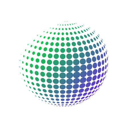 Geometric sphere made of dots with a gradient green blue colors. Halftone vector illustration. 3D ball in a modern minimalistic style Vettoriali