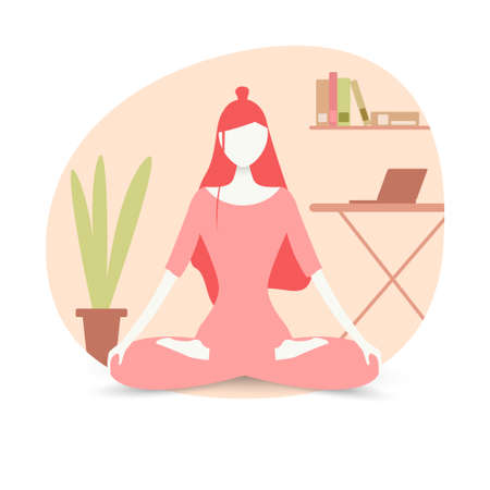 The girl is engaged in yoga in the lotus position at home. Relaxed young woman enjoying a vacation. The girl is meditating. Trendy vector illustration in flat cartoon style Vektoros illusztráció