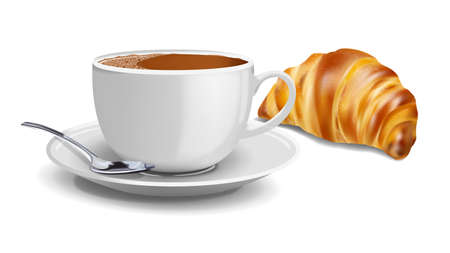Realistic coffee breakfast with croissant vector illustration