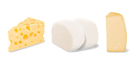 Vector set of pieces of different types of Parmesan, Mozzarella and Swiss cheese close up isolated on white background Vectores
