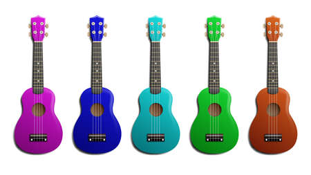 Ukulele realistic vector illustration. Set of acoustic classic hawaiian guitar with four strings in different colors