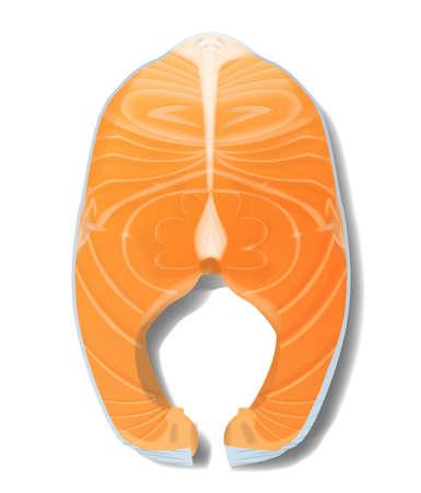 Salmon fish steak realistic vector illustration isolated on white background 向量圖像