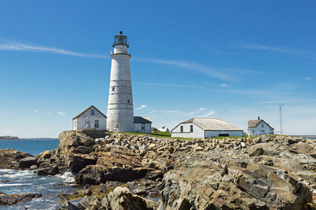 lighthouse with beam: Boston Lighthouse on a nice clear day