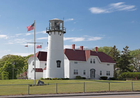 cape cod: Chatham Lighthouse in Cape Cod Stock Photo