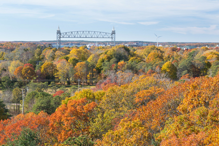 Cape Cod Canal on an Autumn day Фото со стока