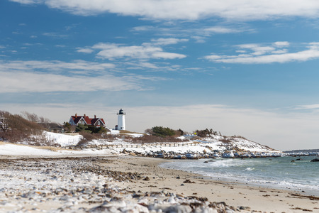 cod hole: Nobska Lighthouse in Cape Cod on a snowy Winter day Stock Photo