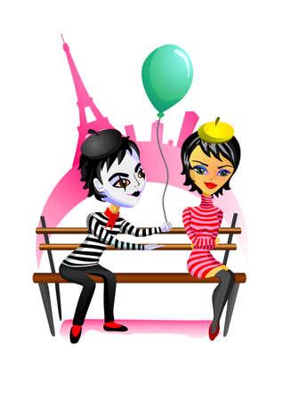 Mime と女の子はパリの公園のベンチに座っています。