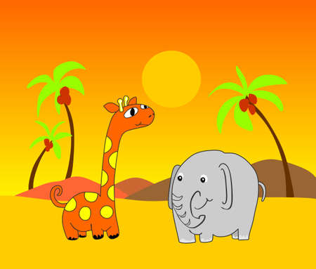 Giraffe and elephant in desert. Giraffe and elephant and background are grouped and layered separately.