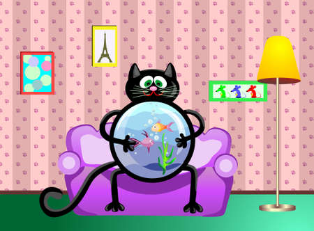 The black cat with an aquarium in hands sits on a sofa, in the cats room Illustration