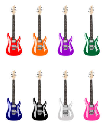 rock guitar: Isolated vector illustration of colored electric guitars