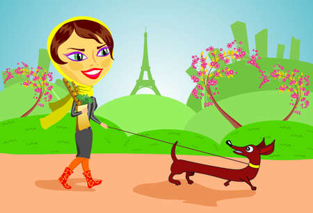 The young girl walks with a dog. Woman and dog and background are grouped and layered separately. Vector