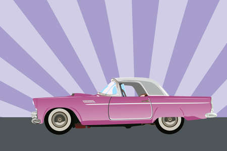Vector illustration of a classic 1955 pink car Vector