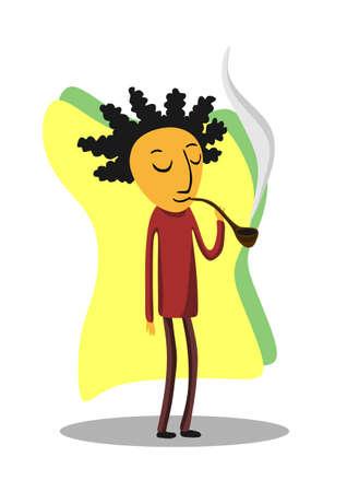 ed: ed smokes a tube Illustration