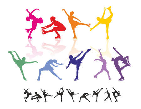 Figure skating silhouettes Stock Vector - 9621973