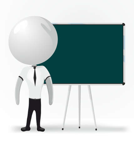 white men with blackboard Vector