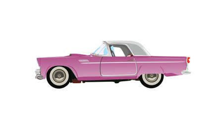 car side view: pink classic auto
