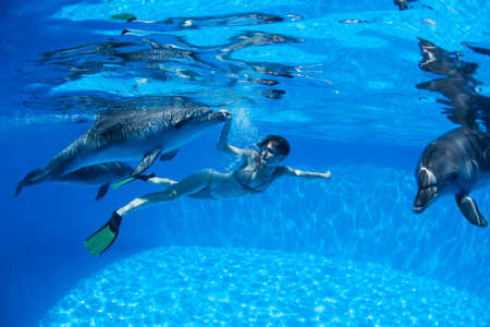 Girl under water communicates and with the dolphins photo