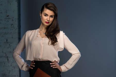 Portrait glamourösen braunhaarig Business-Stil Mädchen in eine Bluse und einen Lederrock gekleidet Standard-Bild - 40687976