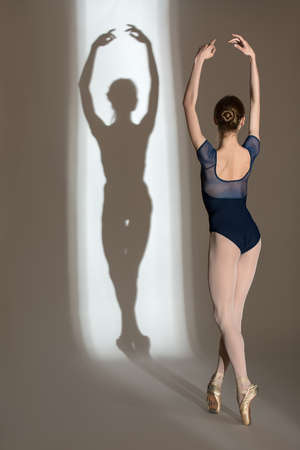 shadows: Portrait in full growth graceful ballerina in a studio on a white background. Dancer in a blue bathing suit. Against the background of her beautiful shadow.