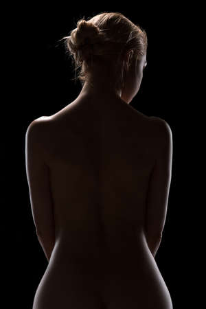 nude back: Art nude picture of naked blonde in the studio. The lighting in the style of low-key. Stock Photo