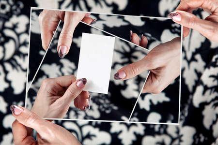 multitude: multitude hands of women hold empty white card.