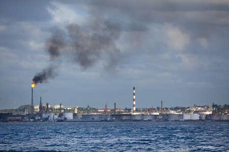 catalytic: Oil Industry factory with smoke in Cuba Havana